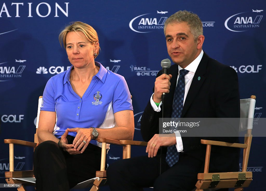 Annika Sorenstam of Sweden talks to the media watched by Ivan Khodabakhsh the CEO of the Ladies European Tour during the press conference to announce the 2017 European Solheim Cup Captain held during the ANA Inspiration at Mission Hills Country Club on March 30, 2016 in Rancho Mirage, California.