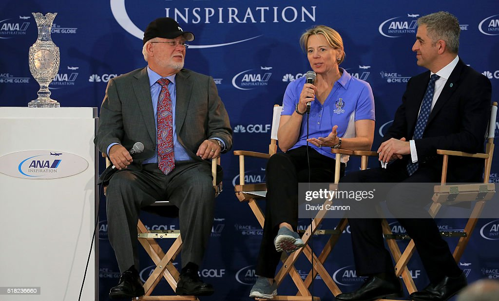 Annika Sorenstam of Sweden talks to the media watched by John Solheim the Chairman and CEO of Ping (l) and Ivan Khodabakhsh the CEO of the Ladies European Tour during the press conference to announce her as the 2017 European Solheim Cup Captain held during the ANA Inspiration at Mission Hills Country Club on March 30, 2016 in Rancho Mirage, California.