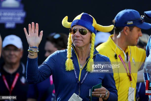 Annika Sorenstam of Sweden the European Team captain on the first tee during the final day singles matches in the 2017 Solheim Cup at the Des Moines...