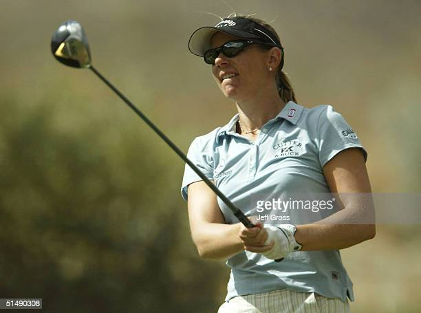 Annika Sorenstam of Sweden watches her tee shot on the fifth hole during the final round of the LPGA Samsung World Championship on October 17 2004 at...