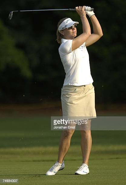 Annika Sorenstam plays a shot from the 1st fairway during a practice round prior to the start of the US Women's Open Championship at Pine Needles...