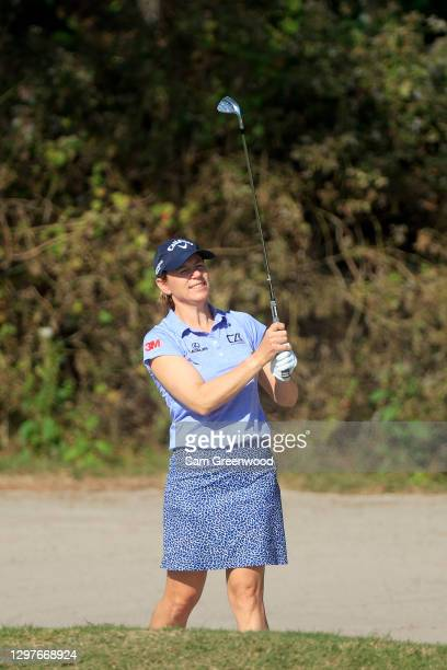 Annika Sorenstam plays a shot on the fourth hole during the first round of the Diamond Resorts Tournament Of Champions at Tranquilo Golf Course at...