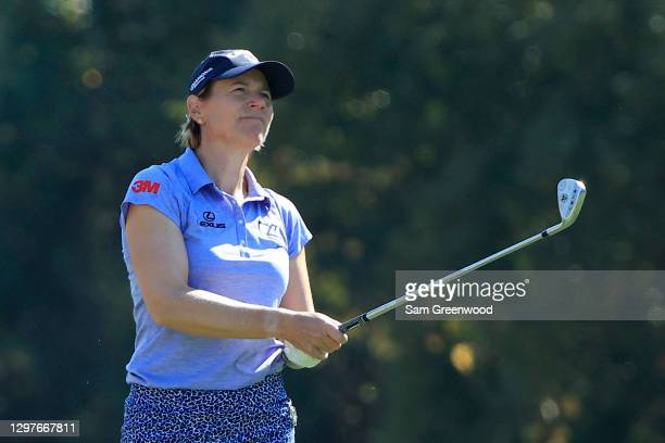 Annika Sorenstam plays a shot on the seventh hole during the first round of the Diamond Resorts Tournament Of Champions at Tranquilo Golf Course at...