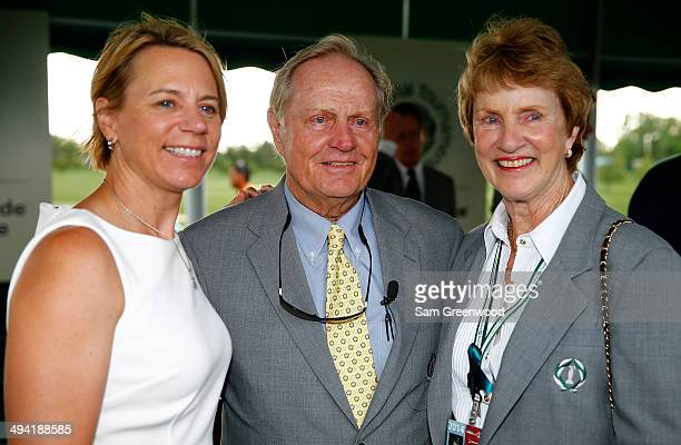 Annika Sorenstam poses with Jack and Barbara Nicklaus following the memorial induction ceremony prior to the Memorial Tournament presented by...