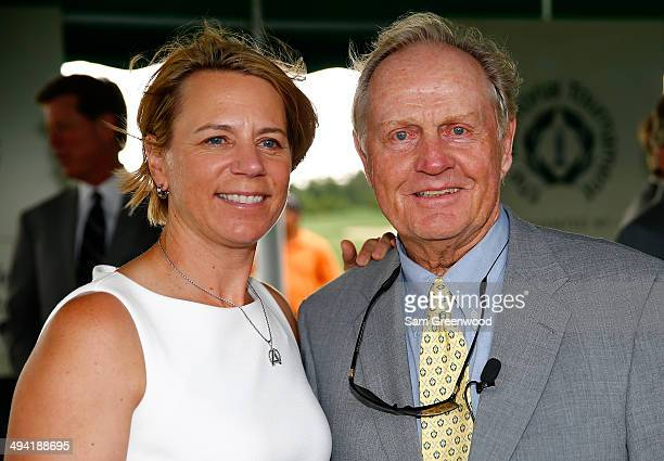 Annika Sorenstam poses with Jack Nicklaus following the memorial induction ceremony prior to the Memorial Tournament presented by Nationwide...