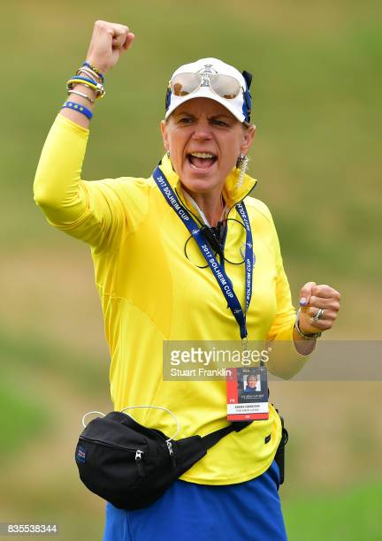 Annika Sorenstam Team Europe Captain shouts and cheers during the second day morning foursomes matches of The Solheim Cup at Des Moines Golf and...