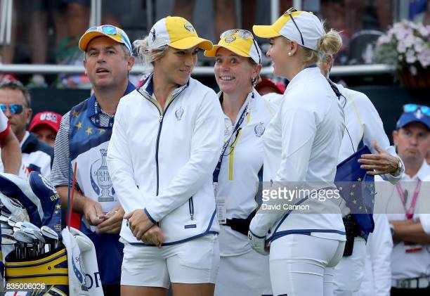 Annika Sorenstam the European Team captain with Melissa Reid and Charley Hull of England on the first tee before Reid hit the first tee shot of the...
