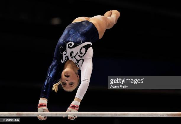 Annika Urvikko of Finland performs on the Uneven Bars aparatus in the Women's Qualification during the day one of the Artistic Gymnastics World...