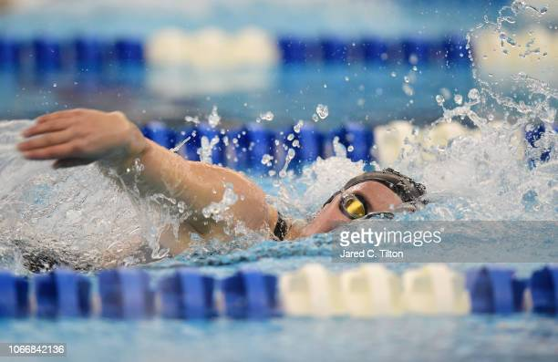 Annika Wagner competes in the Women's 200m Freestyle heats during the Swimming Winter National Championships at the Greensboro Aquatic Center on...