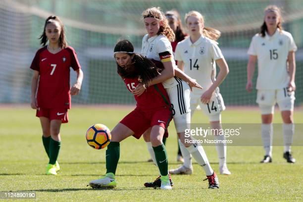 Annika Wohnen of U16 Girls Germany challenges Carolina Almeida of U16 Girls Portugal during UEFA Development Tournament match between U16 Girls...