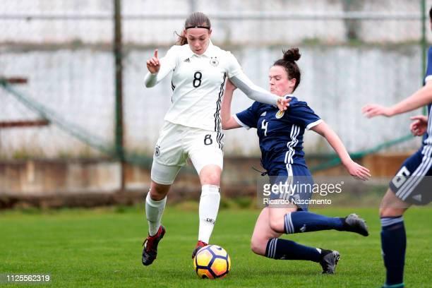 Annika Wohnen of U16 Girls Germany challenges Jenna Penman of U16 Girls Scotland during the UEFA Development Tournament match between U16 Girls...