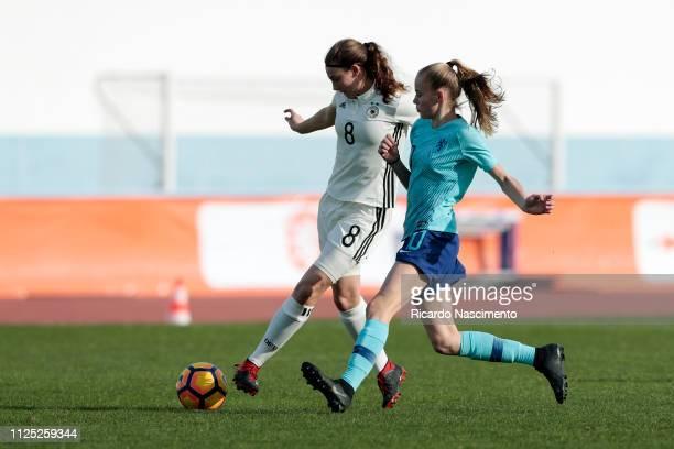 Annika Wohnen of U16 Girls Germany challenges Jet van der Veen of U16 Girls Netherlands during UEFA Development Tournament match between U16 Girls...