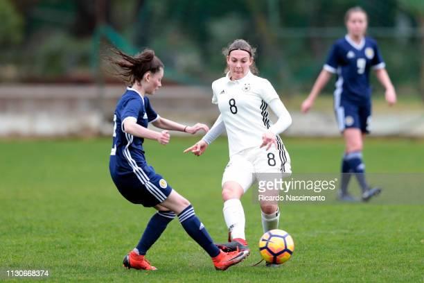 Annika Wohnen of U16 Girls Germany challenges Lynsey Emma Baillie of U16 Girls Scotland during UEFA Development Tournament match between U16 Girls...
