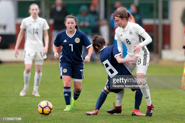 Annika Wohnen of U16 Girls Germany challenges Olivia King of U16 Girls Scotland during the UEFA Development Tournament match between U16 Girls...