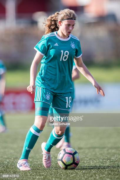 Annika Wohner of Germany in action during the U15 Girls friendly match between Netherlands and Germany at the Sportpark De Koerbelt on April 18 2018...