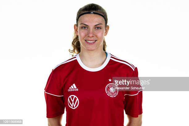 Annika Wohner poses during the Germany Under16 girl's team presentation on January 29 2019 in Kamen Germany