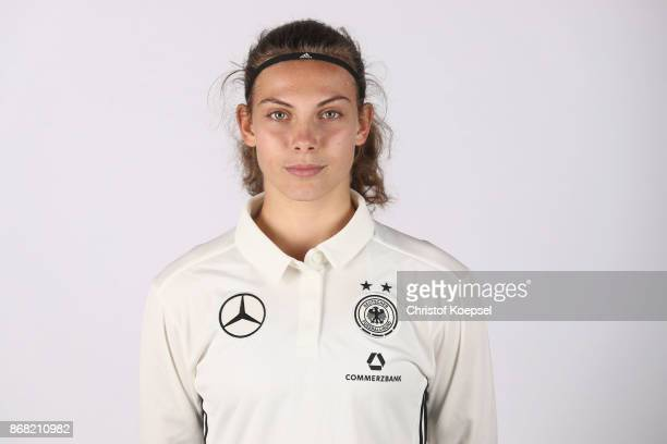 Annika Wohner poses during the U15 Girl's Germany Team Presentation at Training Ground Goethe School on October 30 2017 in Wetzlar Germany