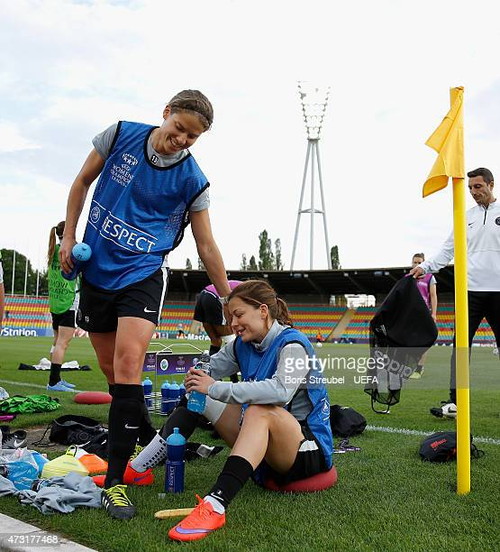 Annike Krahn and Laure Boulleau attend the training session the day before the UEFA Women's Champions League Final match between 1 FFC Frankfurt and...