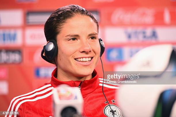 Annike Krahn of Germany attends a press conference ahead of their Group B match against Cote d'Ivoire at Lansdowne Stadium on June 6 2015 in Ottawa...