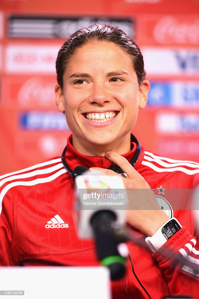 Annike Krahn of Germany attends a press conference ahead of their Group B match against Cote d'Ivoire at Lansdowne Stadium on June 6, 2015 in Ottawa, Canada.