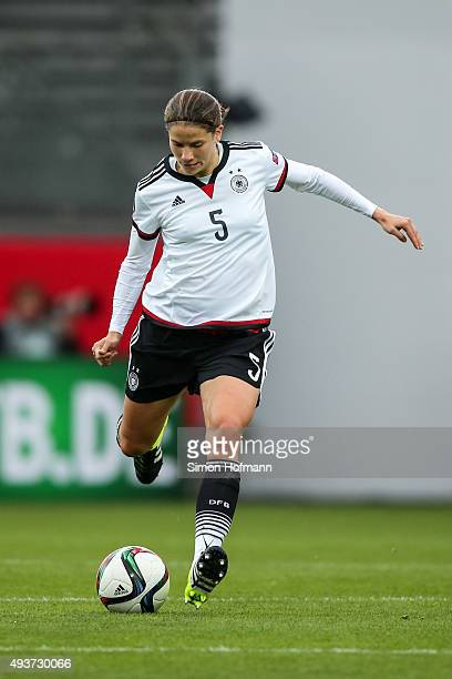 Annike Krahn of Germany controls the ball during the UEFA Women's Euro 2017 Qualifier match between Germany and Russia at BRITAArena on October 22...