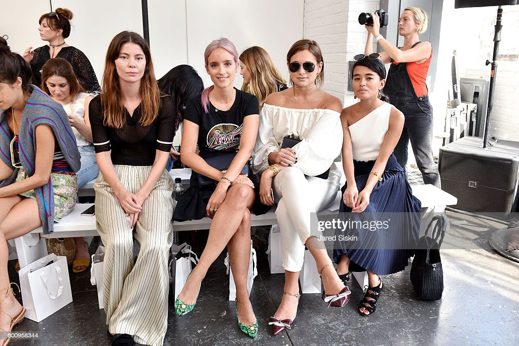 Annina Mislin, Charlotte Groeneveld, Danielle Bernstein and Olivia Lopez attend the Creatures of Comfort - Front Row - September 2016 - New York Fashion Week at Industria Studios on September 8, 2016 in New York City.