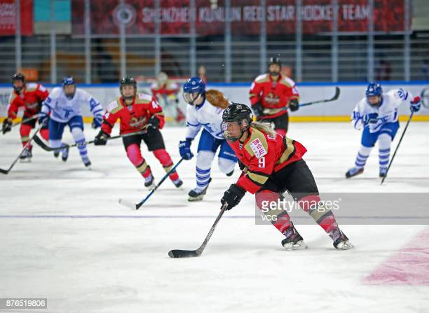Annina Rajahuhta of Kunlun Red Star WIH vies for the puck during the 2017/2018 Canadian Women's Hockey League CWHL match between Kunlun Red Star WIH...