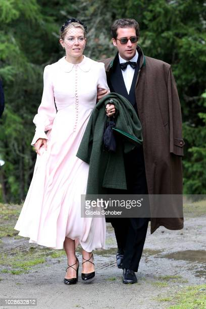 Annina von Pfuel and guest during the wedding of Prince Konstantin of Bavaria and Princess Deniz of Bavaria born Kaya at the french church 'Eglise au...