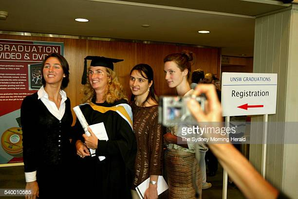 Annita Keating who graduated from The University of New South Wales with a Masters' Degree in Arts is pictured with her daughters from left Katherine...