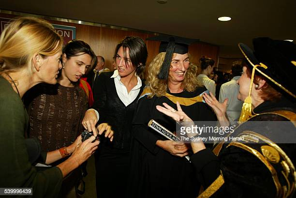 Annita Keating who graduated from The University of NSW with a masters degree in Arts is pictured with her daughters Caroline and Katherine on 5 May...