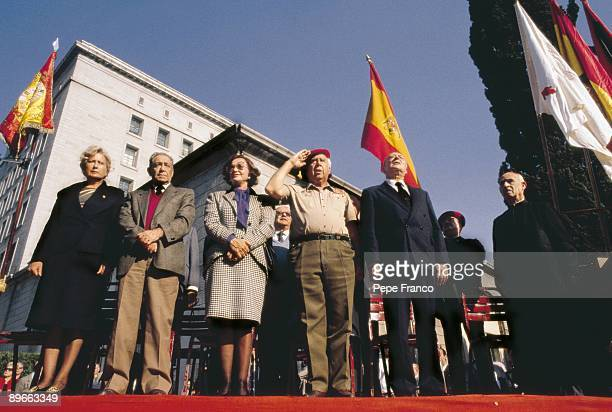 Anniversary of the general Francisco Franco death Camen Polo widow of Franco next to Camilo Menendez and Blas Pinar