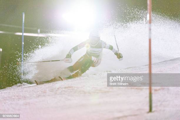 AnnKathrin Breuning of the University of Utah competes in the Women's Slalom race during the Division I Men and Women's Skiing Championship held at...