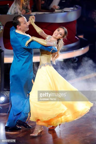 AnnKathrin Broemmel and Sergiu Luca perform on stage during the 1st show of the tenth season of the television competition 'Let's Dance' on March 17...