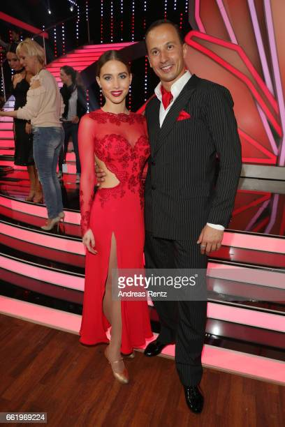 AnnKathrin Broemmel and Sergiu Luca pose after the 3rd show of the tenth season of the television competition 'Let's Dance' on March 31 2017 in...