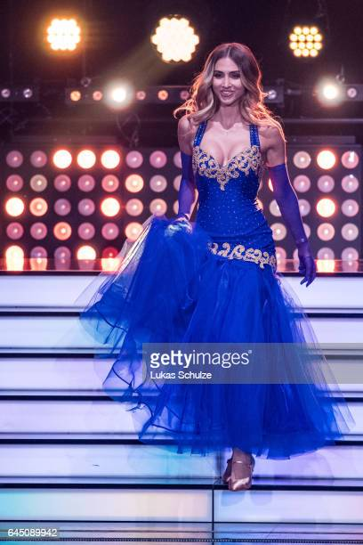 AnnKathrin Broemmel arrives on stage during the preshow 'Wer tanzt mit wem Die grosse Kennenlernshow' for the television competition 'Let's Dance' on...
