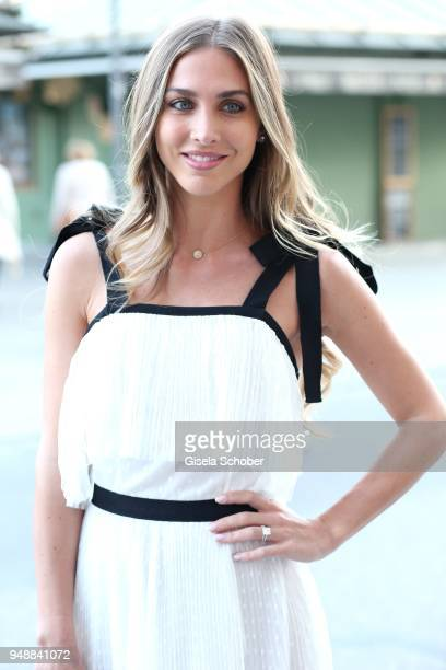 AnnKathrin Broemmel fiance of Mario Geotze during the Kiss New York launch at Kustermann Kochschule on April 19 2018 in Munich Germany