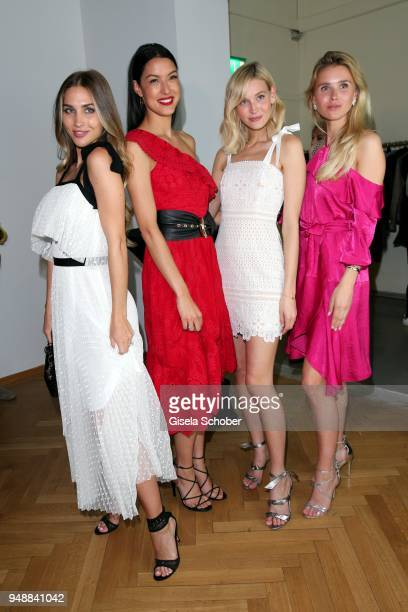 AnnKathrin Broemmel fiance of Mario Goetze Rebecca Mir Mandy Bork and Scarlett Gartmann girlfriend of Marco Reus during the Kiss New York launch at...