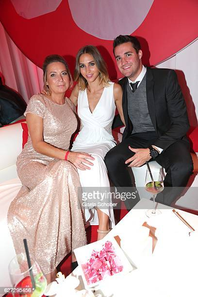 AnnKathrin Broemmel girlfriend of Mario Goetze and her mother Sabine Broemmel and her brother Sebastian Broemmel during the Mon Cheri Barbara Tag...