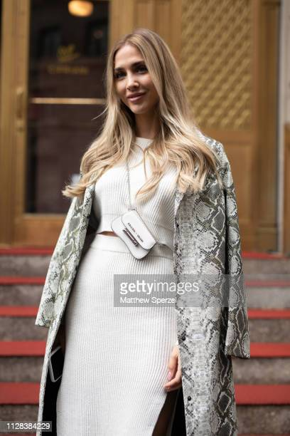 AnnKathrin Brommel is seen on the street during New York Fashion Week AW19 wearing white dress on February 08 2019 in New York City