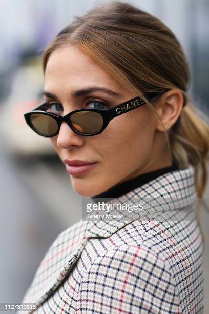 AnnKathrin Goetze wearing Maje jacket and a Chanel vintage sunglasses on February 02 2019 in Duesseldorf Germany