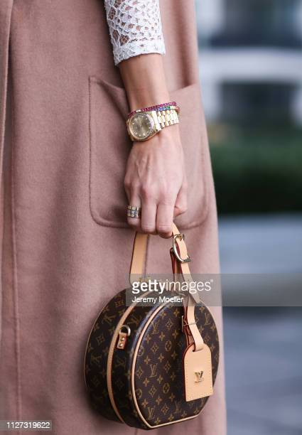 AnnKathrin Goetze wearing Marc Cain jacket Zara dress Louis Vuitton shoes and bag Rolex watch and Cartier rings on February 02 2019 in Duesseldorf...