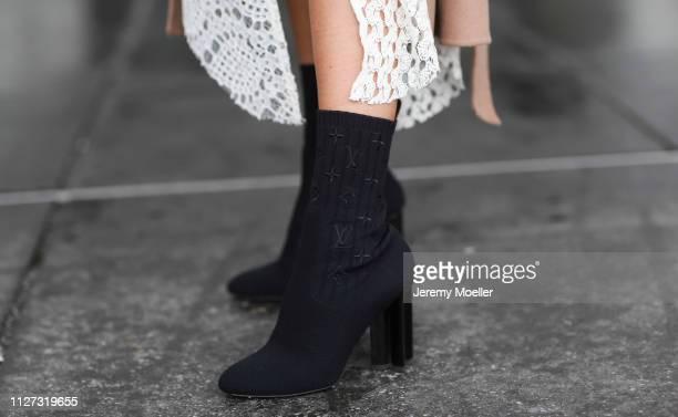 AnnKathrin Goetze wearing Zara dress Louis Vuitton shoes on February 02 2019 in Duesseldorf Germany
