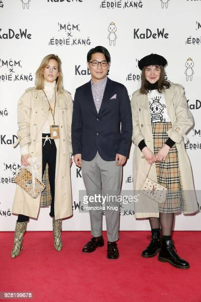 AnnKathrin Grebner Eddie Kang and Sissi Pohle during the MCM X Eddie Kang launch event at KaDeWe on March 6 2018 in Berlin Germany
