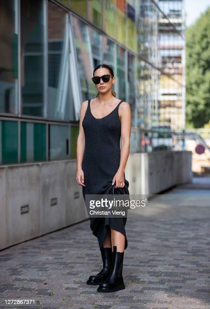 AnnKathrin Götze is seen wearing black dress Nu In Bottega Veneta boots Chanel bag Dior sunglasses on September 16 2020 in Dusseldorf Germany