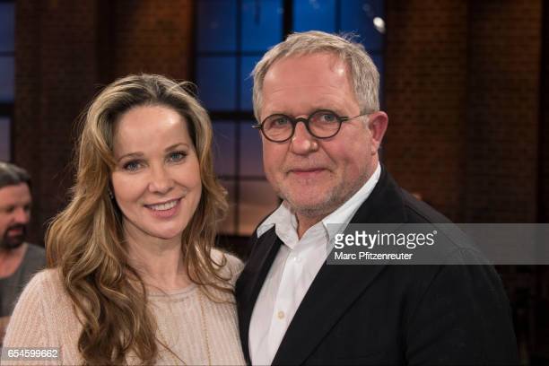 AnnKathrin Kramer and Harald Krassnitzer attend the 'Koelner Treff' TV Show at the WDR Studio on March 17 2017 in Cologne Germany
