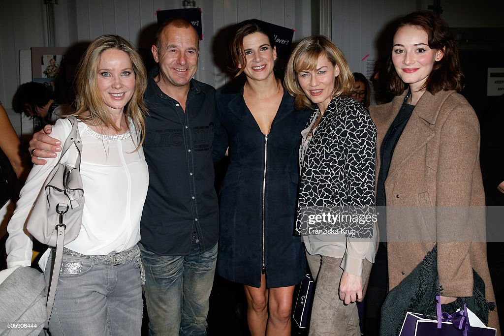 Ann-Kathrin Kramer, Heino Ferch, Marie Jeanette Ferch, Gesine Cukrowski and Maria Ehrich attend the Laurel show during the Mercedes-Benz Fashion Week Berlin Autumn/Winter 2016 at Brandenburg Gate on January 20, 2016 in Berlin, Germany.