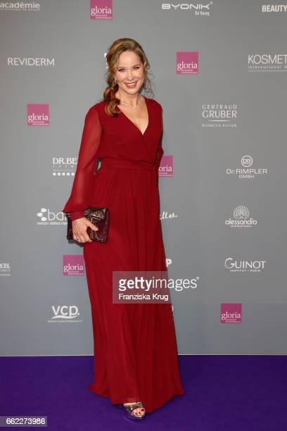 AnnKathrin Kramer wearing a dress by Minx during the Gloria Deutscher Kosmetikpreis at Hilton Hotel on March 31 2017 in Duesseldorf Germany