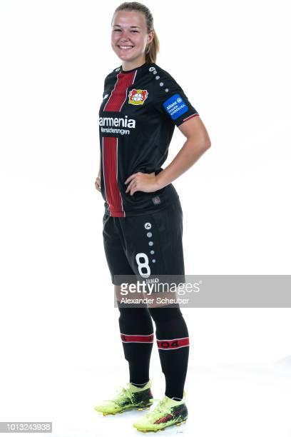 AnnKathrin Vinken poses during the Bayer Leverkusen Women's team presentation on August 3 2018 in Leverkusen Germany