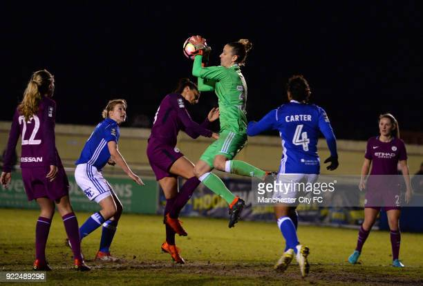 AnnKatrin Berger of Birmingham City Ladies makes a save from Nadia Nadim of Manchester City Women during the WSL match between Birmingham City Ladies...