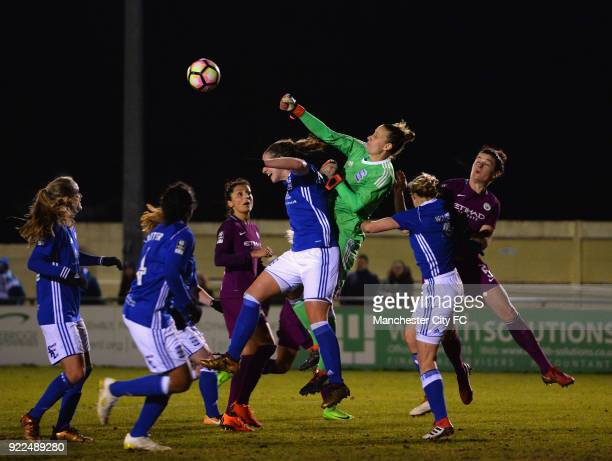 AnnKatrin Berger of Birmingham City Ladies punches the ball clear during the WSL match between Birmingham City Ladies and Manchester City Women at...